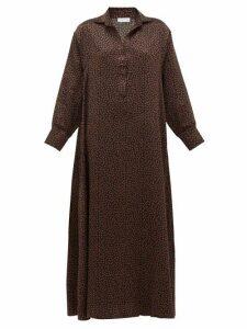Asceno - Porto Mosaic-print Silk Shirtdress - Womens - Brown Print
