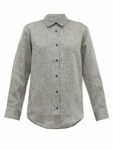 Asceno - Milan Curved-hem Linen Shirt - Womens - Grey