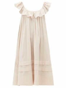 Loup Charmant - Cirrus Ruffled Organic-cotton Muslin Smock Dress - Womens - Light Pink