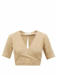 Casa Raki - Jimena Cropped Linen Wrap Top - Womens - Beige