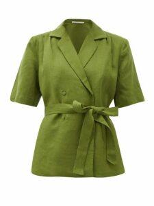 Emilia Wickstead - Eudora Belted Linen Blouse - Womens - Khaki
