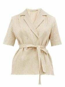Emilia Wickstead - Eudora Belted Cotton-blend Seersucker Blouse - Womens - Beige