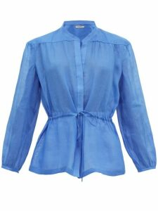 Three Graces London - Rosaline Ramie Tunic Top - Womens - Blue