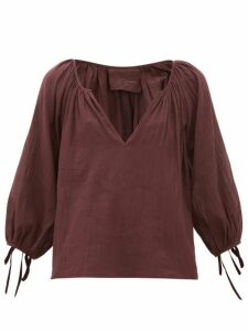Loup Charmant - Capucine Tie-cuff Cotton Blouse - Womens - Dark Purple