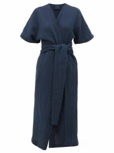 Loup Charmant - Kichi Belted Slubbed-cotton Wrap Dress - Womens - Navy