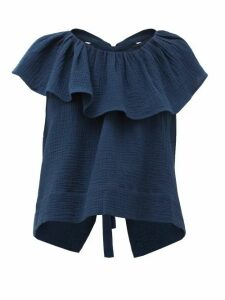 Loup Charmant - Dominica Ruffled Cotton-seersucker Blouse - Womens - Navy