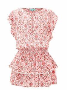 Melissa Odabash - Keri Tiered Tile-print Crepe Mini Dress - Womens - Red Print