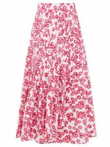 Merlette - Almijara Floral-print Cotton Midi Wrap Skirt - Womens - Pink Print