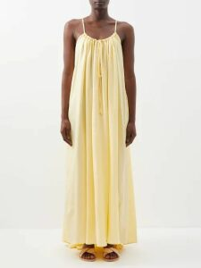 Merlette - Majorelle Smocked Cotton Blouse - Womens - Navy