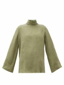 Worme - The High Neck Sandwashed-silk Blouse - Womens - Khaki