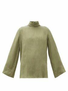 Worme - The High Neck Sandwashed-silk Blouse - Womens - Khaki