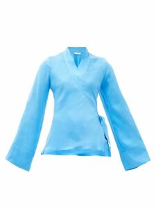 Worme - The Slim Silk Wrap Blouse - Womens - Blue