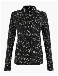 M&S Collection Spot Print Button Detailed Shirt