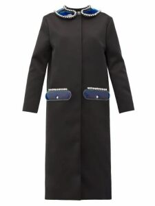 Christopher Kane - Pvc-collar And Pocket Satin Coat - Womens - Black