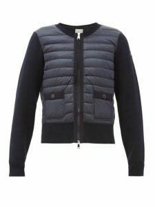 Moncler - Knit-sleeve Quilted-down Panel Cardigan Jacket - Womens - Navy