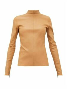 Bottega Veneta - High-neck Leather Top - Womens - Camel