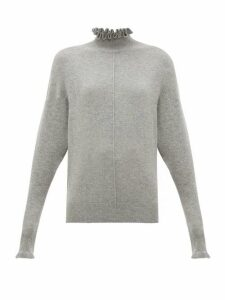 Chloé - Ruffle-neck Cashmere Sweater - Womens - Grey