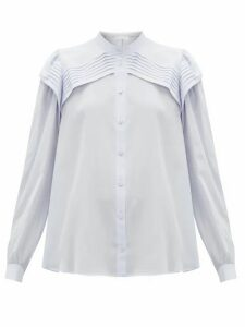 Chloé - Festive Pleated Silk-crepe Blouse - Womens - Light Blue