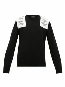 Raf Simons - Embroidered Shoulder-patch Wool Sweater - Womens - Black