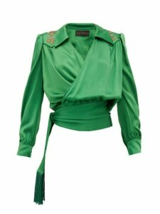 Dundas - Beaded Satin Wrap Blouse - Womens - Green