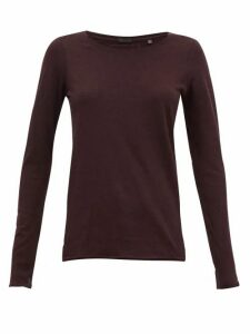 Atm - Heather Cotton-blend Jersey Long-sleeved T-shirt - Womens - Burgundy