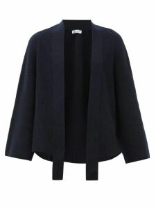 Johnston's Of Elgin - Raglan Sleeve Ribbed Cashmere Waterfall Cardigan - Womens - Navy