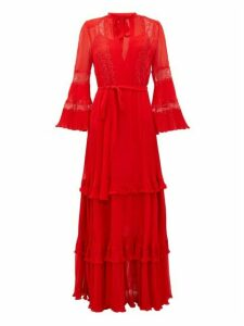 Dundas - Chantilly Lace-insert Silk-georgette Gown - Womens - Red