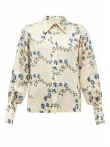 Chloé - Floral-print Silk-chemise Blouse - Womens - Beige Print