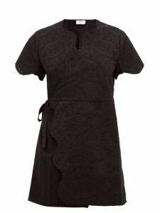 Sir - Delilah Broderie-anglaise Cotton Wrap Mini Dress - Womens - Black
