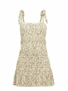 Sir - Alba Stone Fruit-print Plissé Cotton-blend Dress - Womens - Ivory Multi