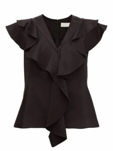 Peter Pilotto - Frill-trim Satin-crepe Top - Womens - Black