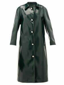 Christopher Kane - Coated Jersey Crystal-embellished Coat - Womens - Dark Green
