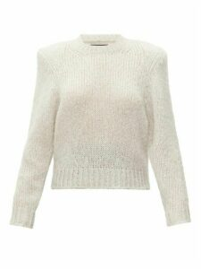 Isabel Marant - Idona Padded-shoulder Mohair-blend Sweater - Womens - Light Grey