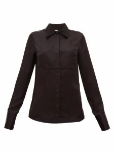 Jil Sander - Bib-front Satin Shirt - Womens - Black