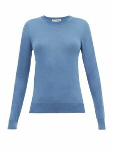 Jil Sander - Round Neck Cashmere Blend Sweater - Womens - Blue