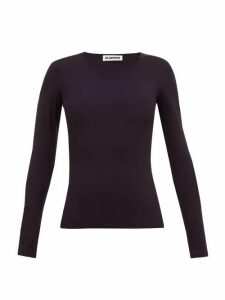 Jil Sander - Round Neck Jersey Top - Womens - Navy