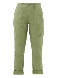 Frame - Cropped Cotton Cargo Trousers - Womens - Khaki
