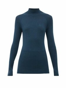 Fendi - Monogram-embroidered Ribbed Wool-blend Sweater - Womens - Navy