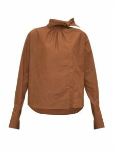 Fendi - High-neck Cotton-poplin Blouse - Womens - Brown