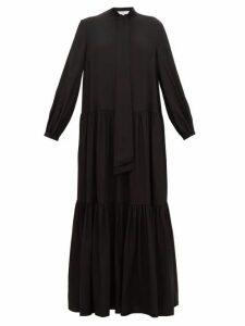 Tibi - Pussy-bow Tiered Silk Maxi Dress - Womens - Black
