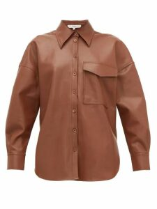 Tibi - Back-tab Faux-leather Shirt - Womens - Brown
