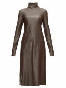 Bottega Veneta - High-neck Leather Midi Dress - Womens - Dark Brown
