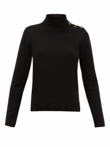 Nili Lotan - Leonard Buttoned Roll Neck Wool Blend Sweater - Womens - Black