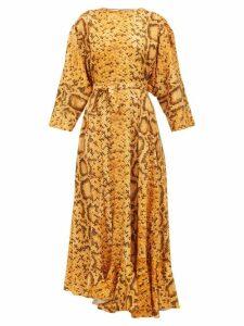 Preen By Thornton Bregazzi - Claudia Snake-print Midi Dress - Womens - Yellow Print