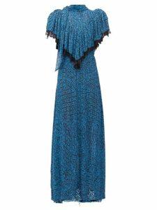 Preen By Thornton Bregazzi - Epaine Abstract-print Plissé-chiffon Maxi Dress - Womens - Blue