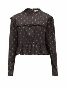 Preen By Thornton Bregazzi - Heather Ptb Logo-print Ruffled Satin Blouse - Womens - Black Print