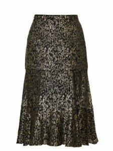 Altuzarra - Clementine Lamé-velvet Fluted Skirt - Womens - Black