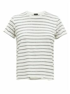 Atm - Glitter-striped Pima-cotton Jersey T-shirt - Womens - White Multi