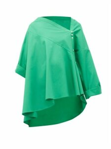 Palmer//harding - Asymmetric Cotton-poplin Trapeze Shirt - Womens - Green