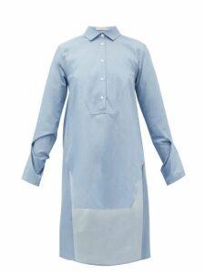 Palmer//harding - Kast Dip-hem Cotton Shirt - Womens - Blue